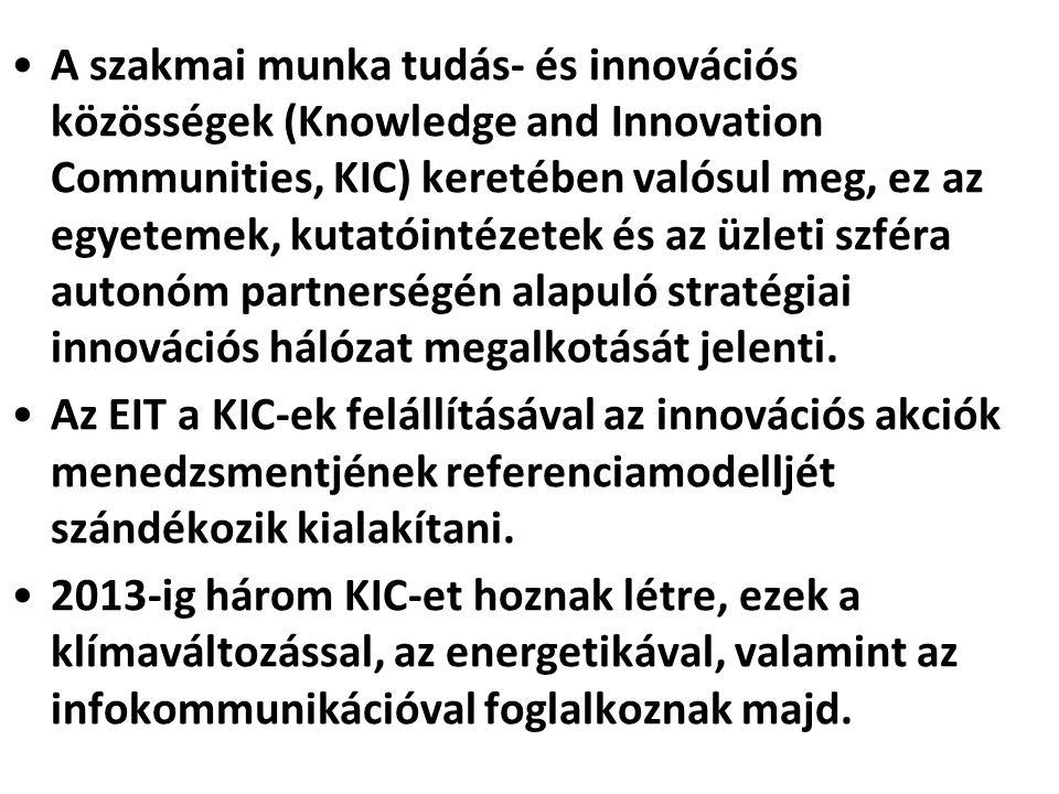 A szakmai munka tudás- és innovációs közösségek (Knowledge and Innovation Communities, KIC) keretében valósul meg, ez az egyetemek, kutatóintézetek és az üzleti szféra autonóm partnerségén alapuló stratégiai innovációs hálózat megalkotását jelenti.