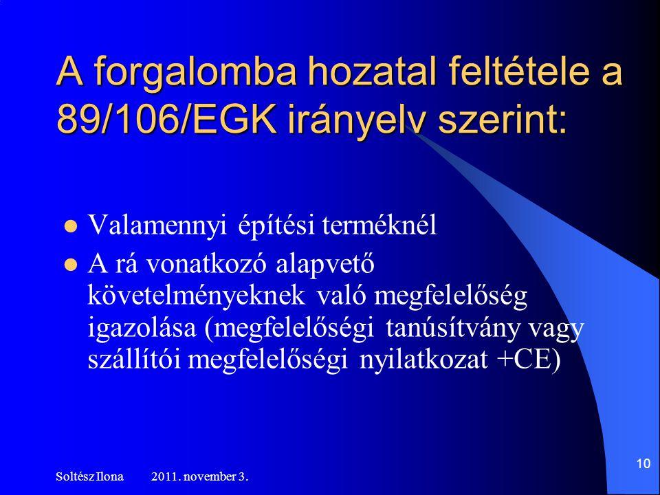 A forgalomba hozatal feltétele a 89/106/EGK irányelv szerint: