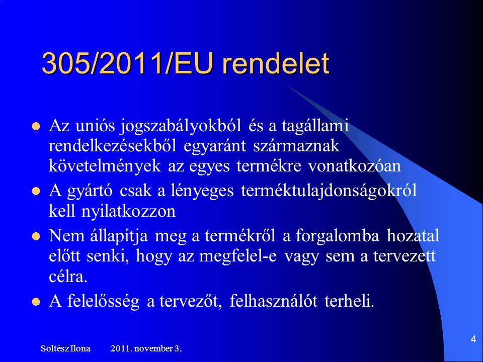 305/2011/EU rendelet Az uniós jogszabályokból és a tagállami rendelkezésekből egyaránt származnak követelmények az egyes termékre vonatkozóan.