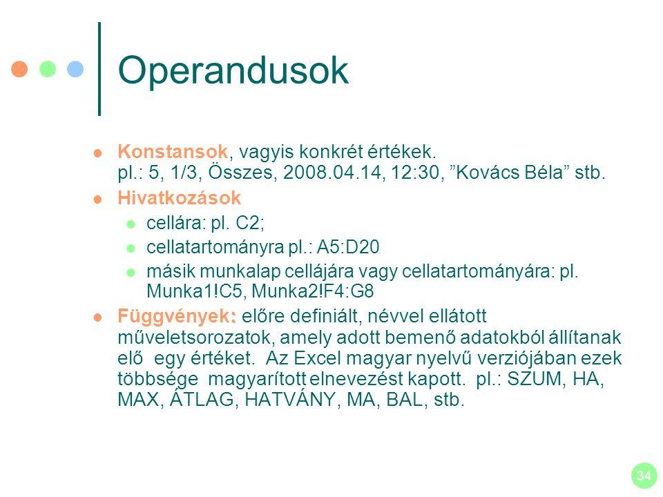 Operandusok Konstansok, vagyis konkrét értékek. pl.: 5, 1/3, Összes, 2008.04.14, 12:30, Kovács Béla stb.