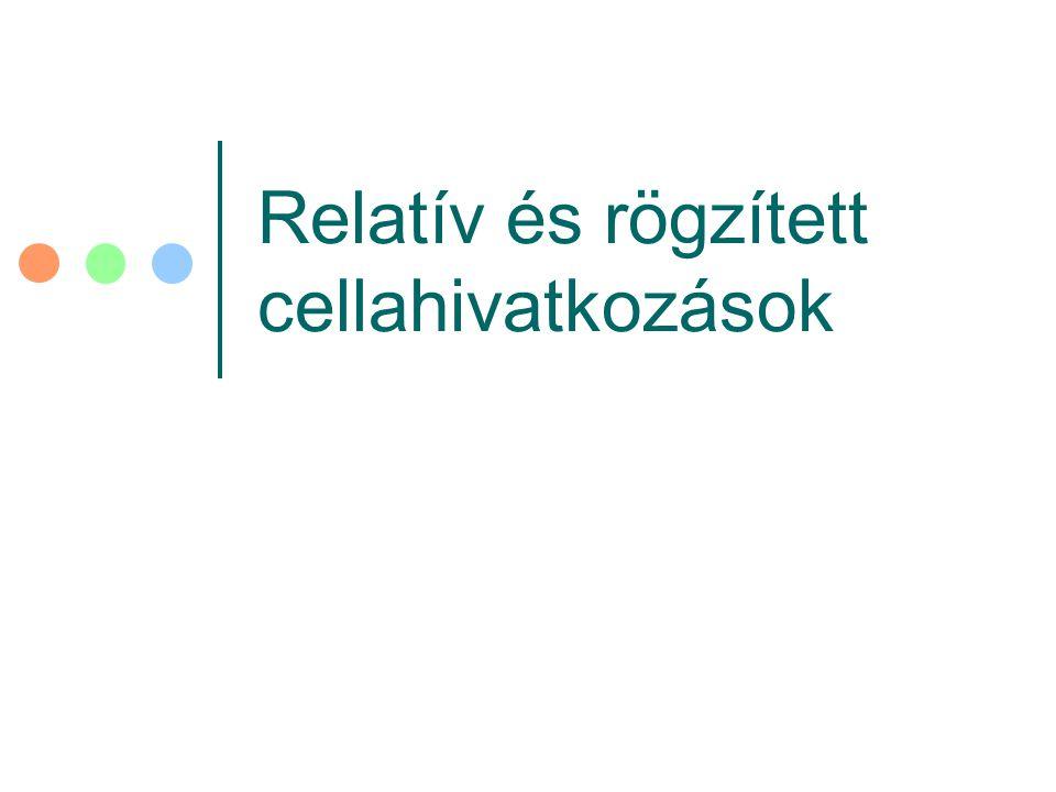 Relatív és rögzített cellahivatkozások