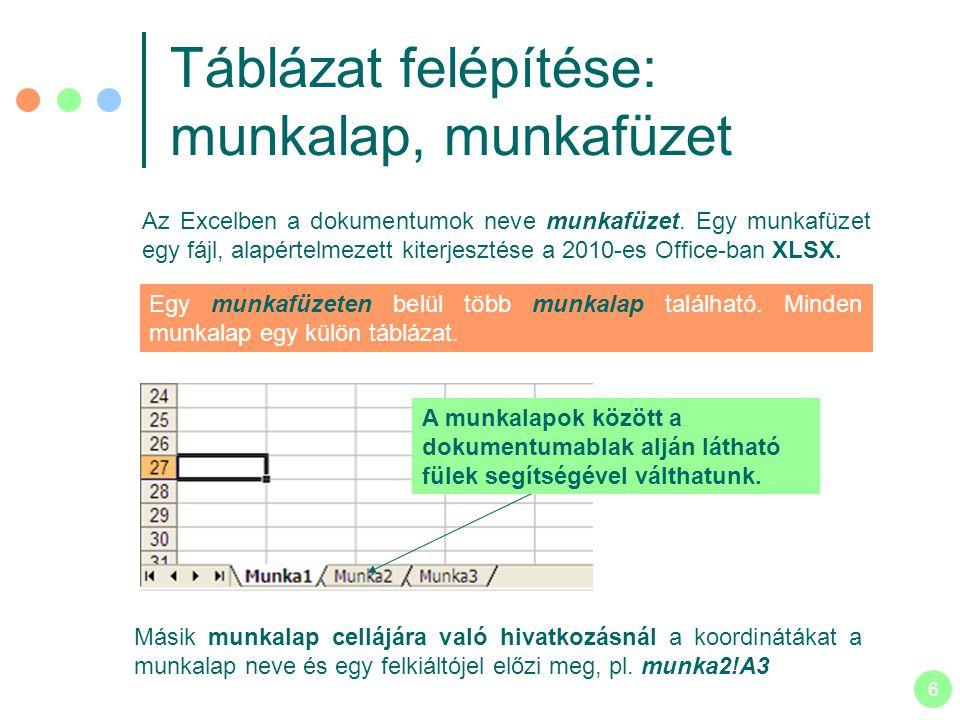 Táblázat felépítése: munkalap, munkafüzet
