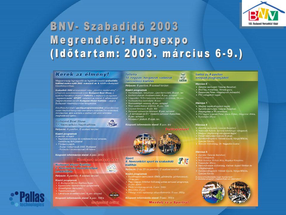 BNV- Szabadidő 2003 Megrendelő: Hungexpo (Időtartam: 2003. március 6-9.)