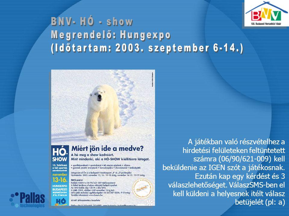 BNV- HÓ - show Megrendelő: Hungexpo. (Időtartam: 2003. szeptember 6-14.)