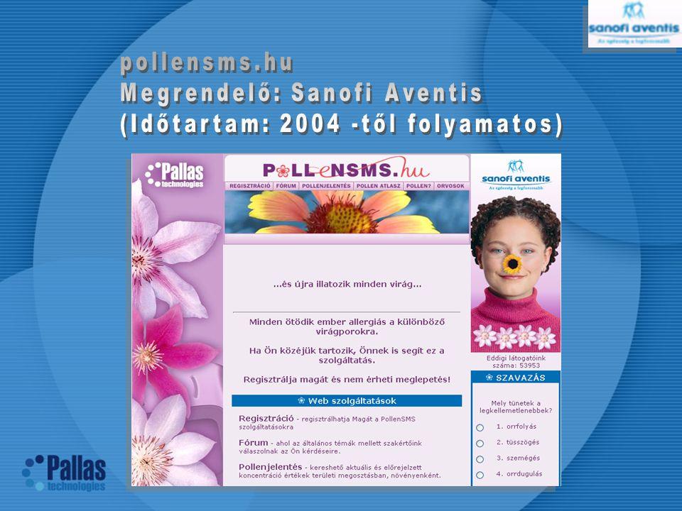 pollensms.hu Megrendelő: Sanofi Aventis (Időtartam: 2004 -től folyamatos)