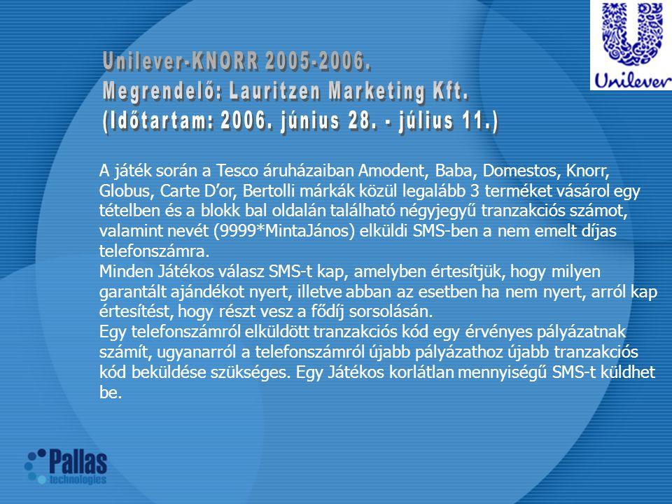 Unilever-KNORR 2005-2006. Megrendelő: Lauritzen Marketing Kft. (Időtartam: 2006. június 28. - július 11.)