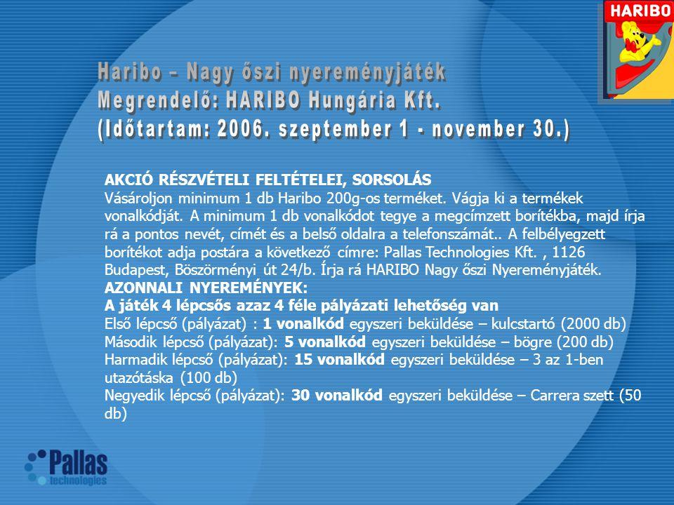 Haribo – Nagy őszi nyereményjáték Megrendelő: HARIBO Hungária Kft.