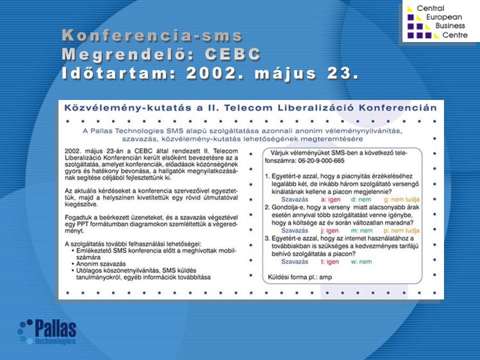 Konferencia-sms Megrendelő: CEBC Időtartam: 2002. május 23.