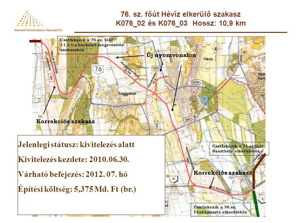76. sz. főút Hévíz elkerülő szakasz K076_02 és K076_03 Hossz: 10,9 km