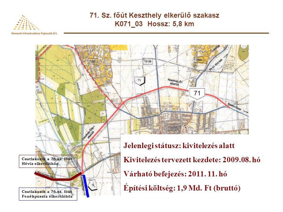 71. Sz. főút Keszthely elkerülő szakasz K071_03 Hossz: 5,8 km