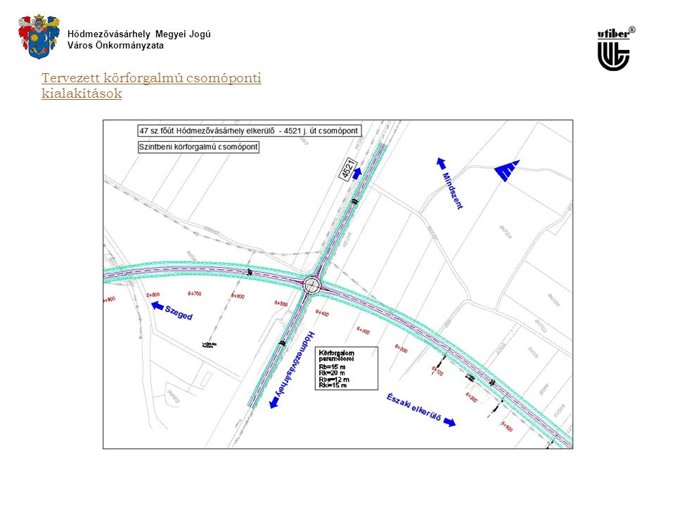 Tervezett körforgalmú csomóponti kialakítások