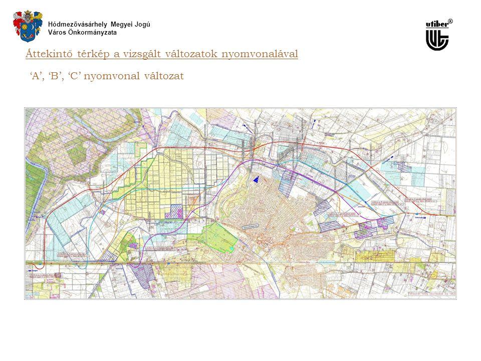 Áttekintő térkép a vizsgált változatok nyomvonalával