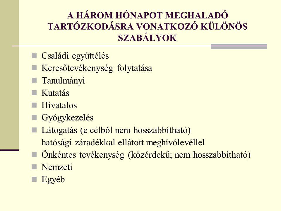 A HÁROM HÓNAPOT MEGHALADÓ TARTÓZKODÁSRA VONATKOZÓ KÜLÖNÖS SZABÁLYOK