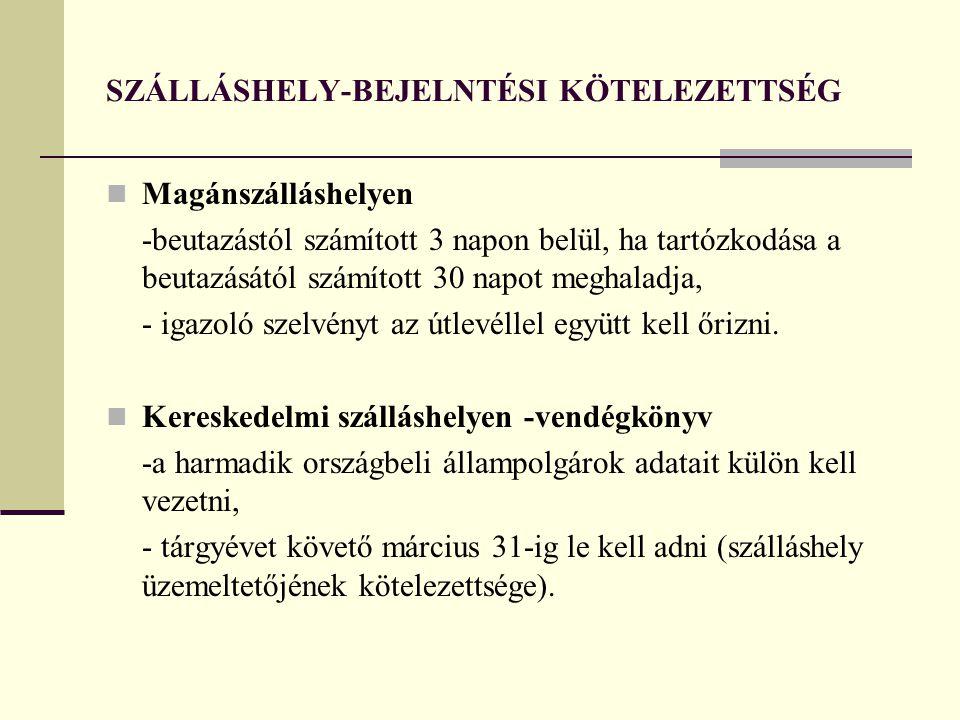 SZÁLLÁSHELY-BEJELNTÉSI KÖTELEZETTSÉG
