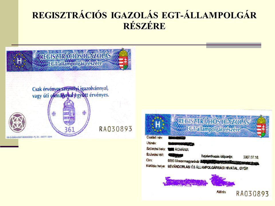 REGISZTRÁCIÓS IGAZOLÁS EGT-ÁLLAMPOLGÁR RÉSZÉRE