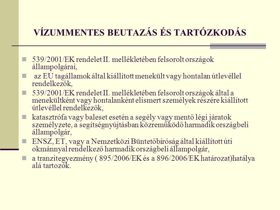 VÍZUMMENTES BEUTAZÁS ÉS TARTÓZKODÁS