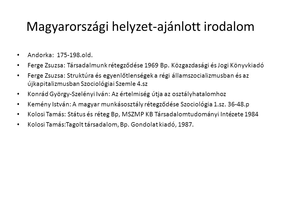 Magyarországi helyzet-ajánlott irodalom