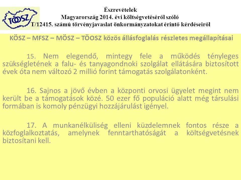 Észrevételek Magyarország 2014. évi költségvetéséről szóló T/12415