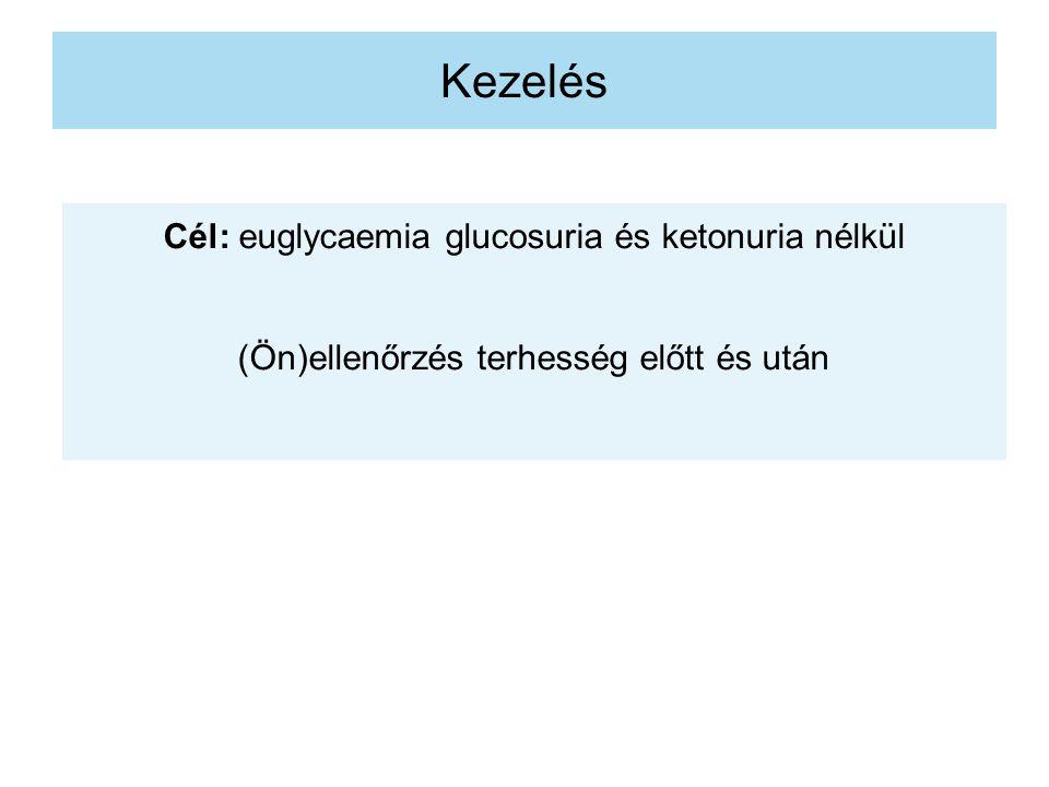 Kezelés Cél: euglycaemia glucosuria és ketonuria nélkül