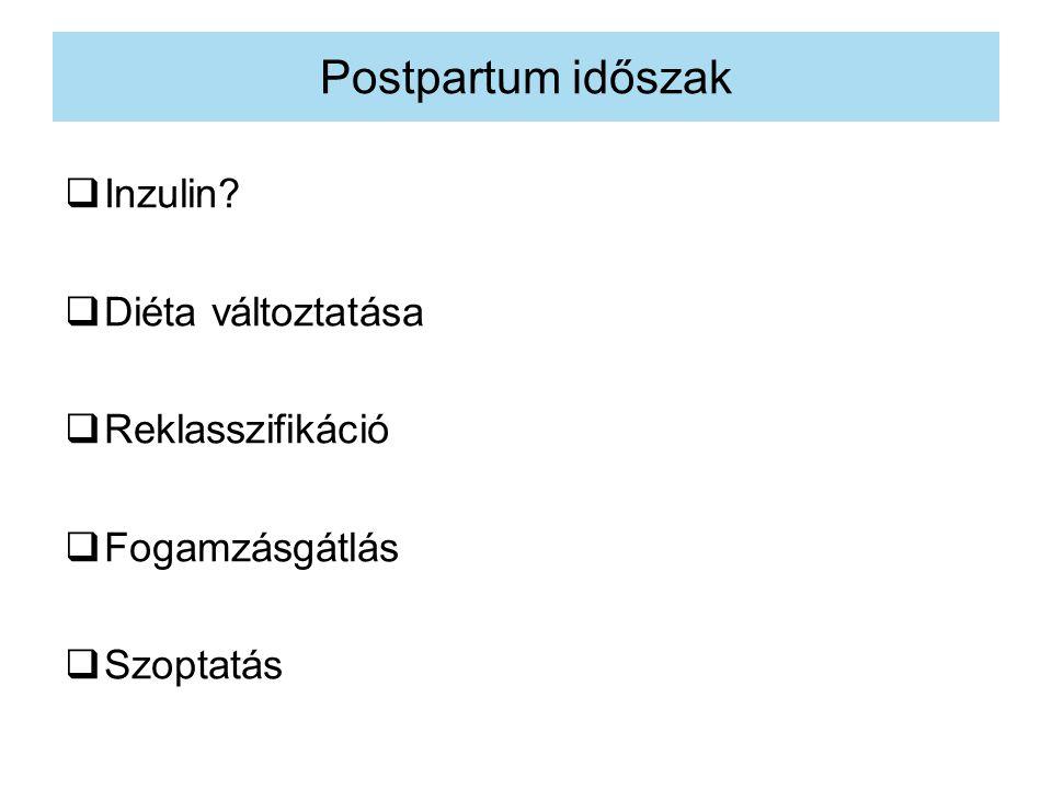 Postpartum időszak Inzulin Diéta változtatása Reklasszifikáció