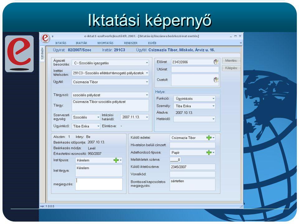 Iktatási képernyő