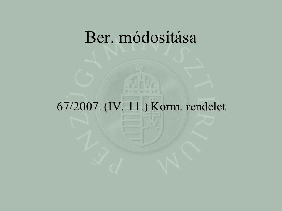 Ber. módosítása 67/2007. (IV. 11.) Korm. rendelet