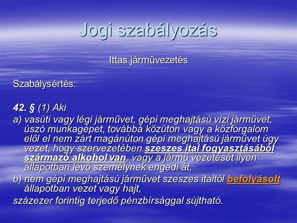 Jogi szabályozás Ittas járművezetés Szabálysértés: 42. § (1) Aki