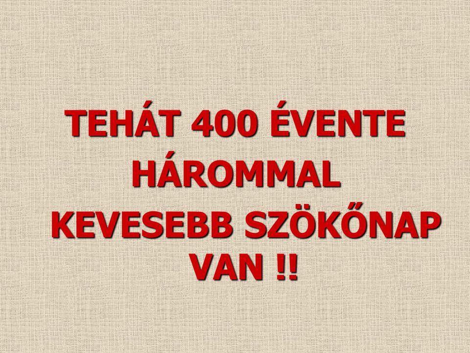 TEHÁT 400 ÉVENTE HÁROMMAL KEVESEBB SZÖKŐNAP VAN !!