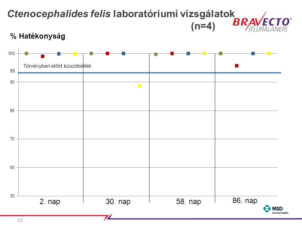 Ctenocephalides felis laboratóriumi vizsgálatok (n=4)