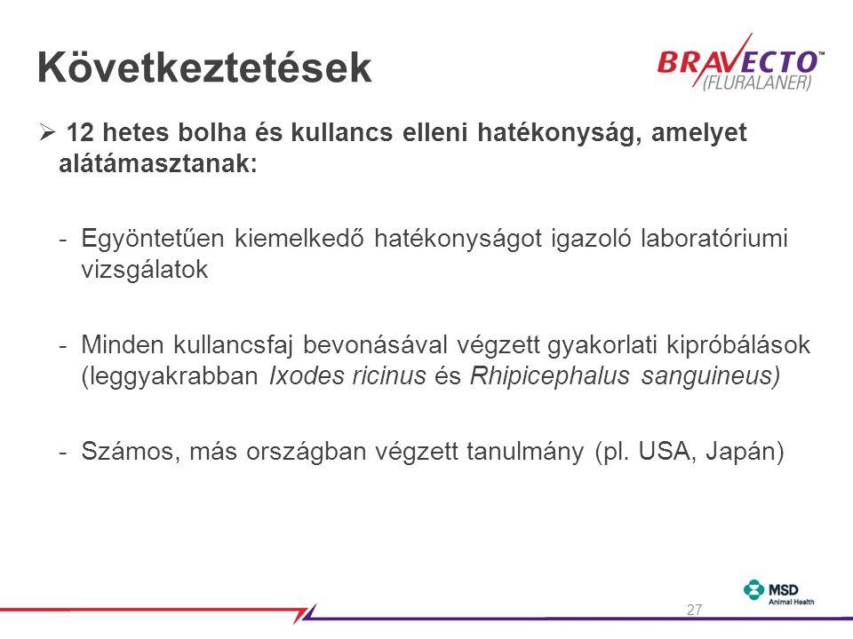 Következtetések 12 hetes bolha és kullancs elleni hatékonyság, amelyet alátámasztanak:
