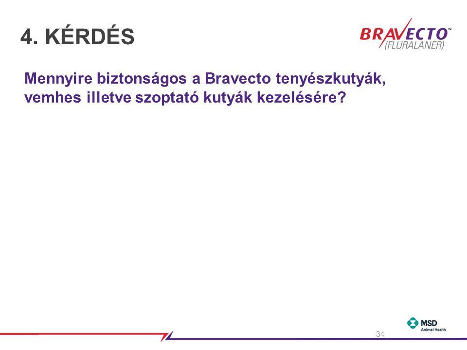 4. KÉRDÉS Mennyire biztonságos a Bravecto tenyészkutyák, vemhes illetve szoptató kutyák kezelésére
