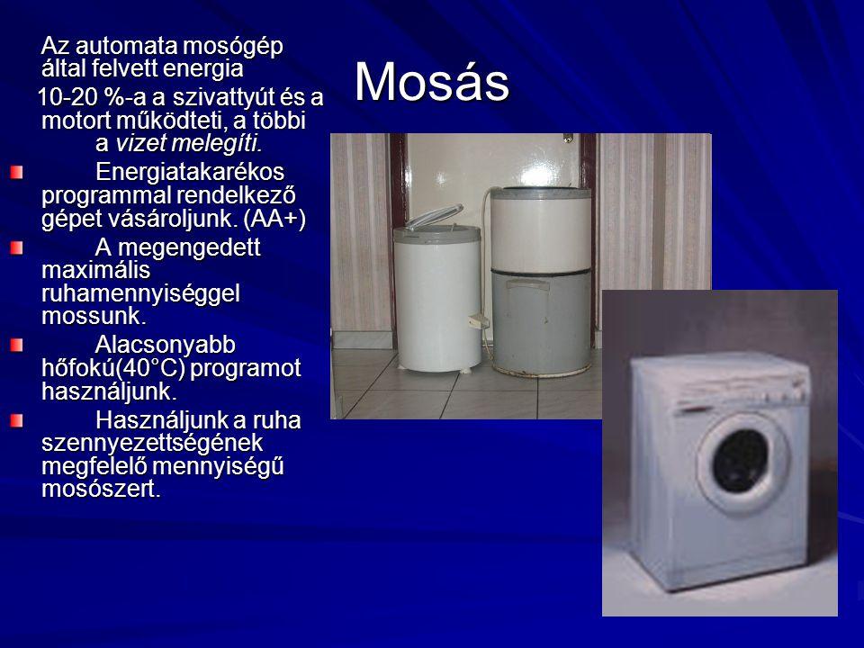 Mosás Az automata mosógép által felvett energia