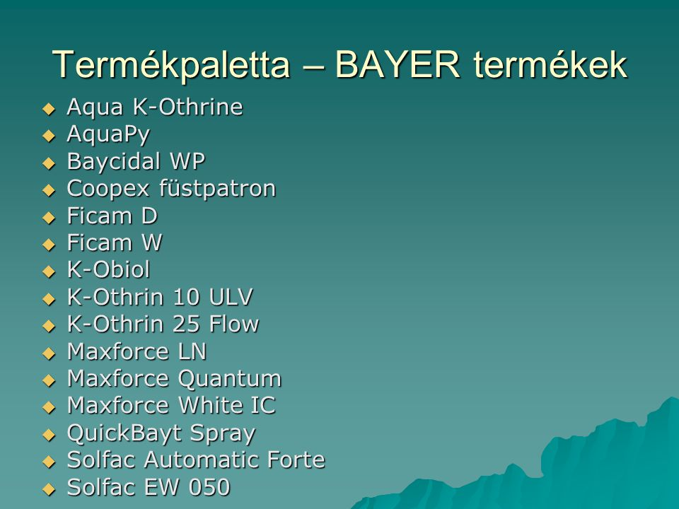 Termékpaletta – BAYER termékek