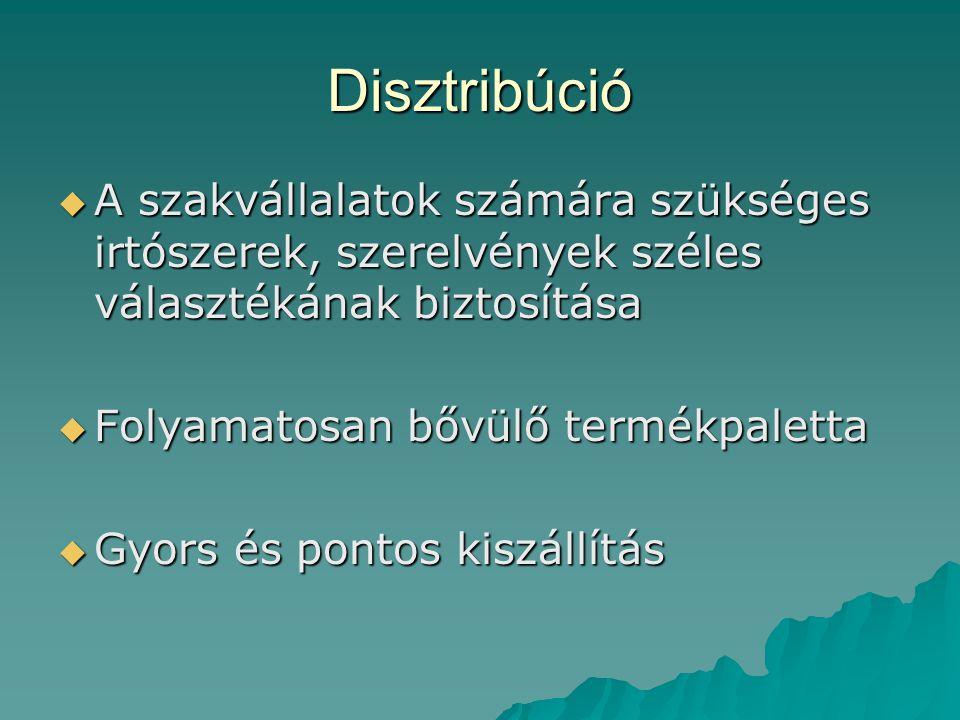 Disztribúció A szakvállalatok számára szükséges irtószerek, szerelvények széles választékának biztosítása.