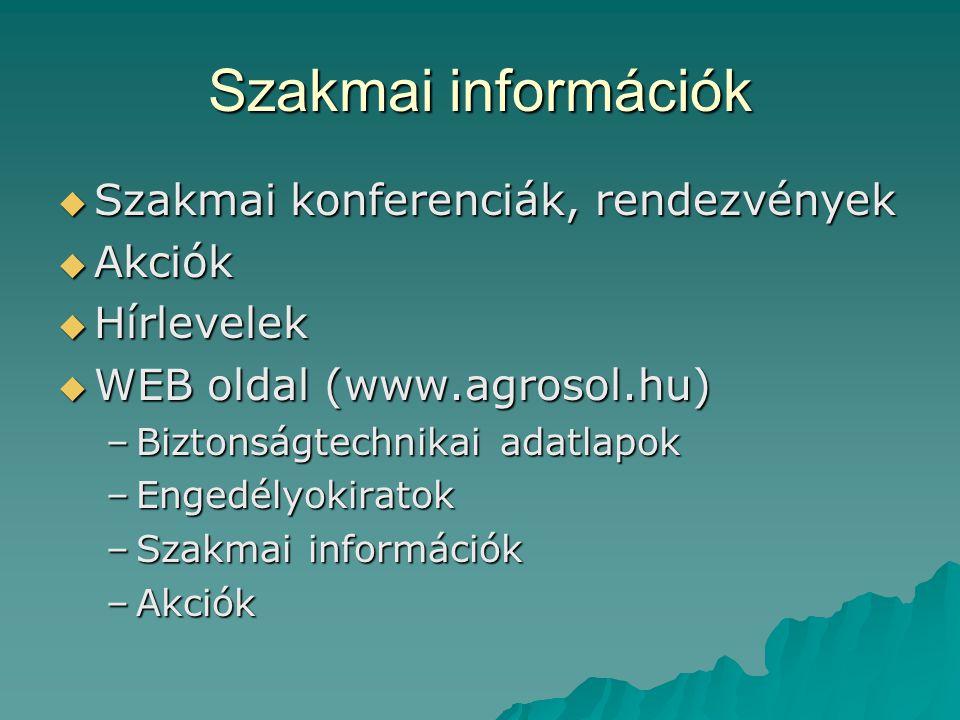 Szakmai információk Szakmai konferenciák, rendezvények Akciók