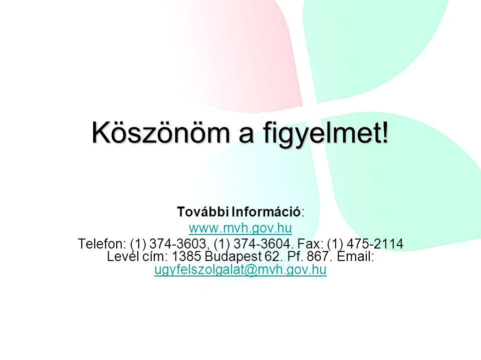Köszönöm a figyelmet! További Információ: www.mvh.gov.hu