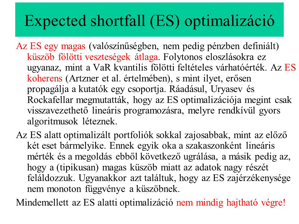 Expected shortfall (ES) optimalizáció