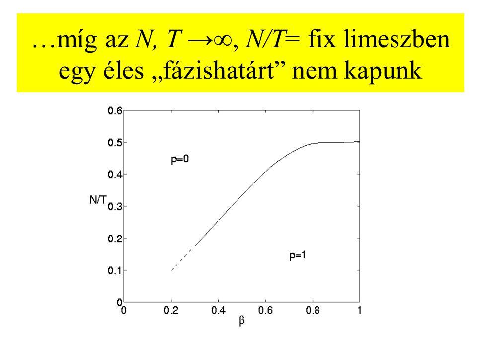 """…míg az N, T →∞, N/T= fix limeszben egy éles """"fázishatárt nem kapunk"""