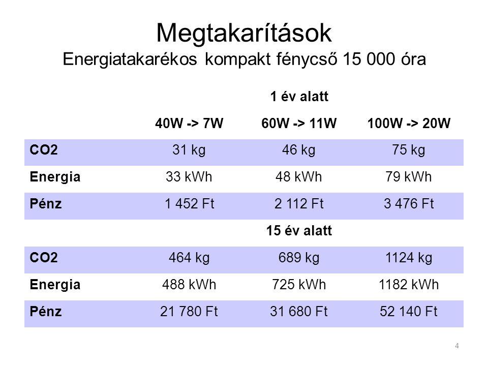 Megtakarítások Energiatakarékos kompakt fénycső 15 000 óra