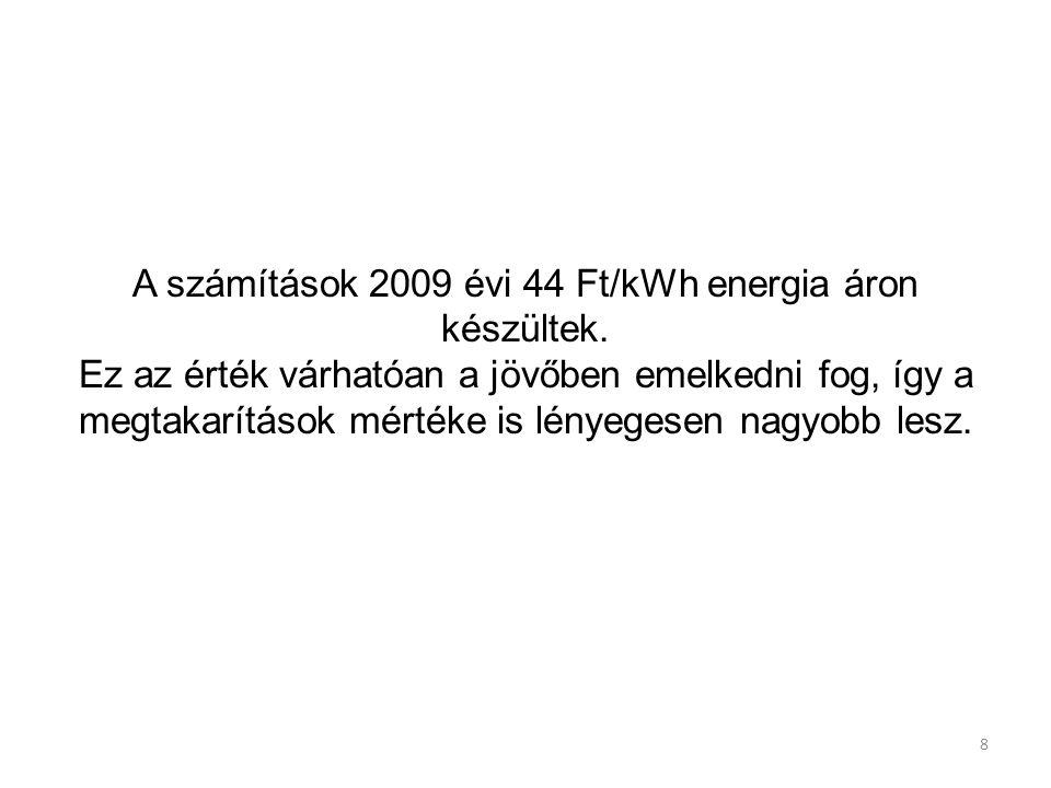A számítások 2009 évi 44 Ft/kWh energia áron készültek.