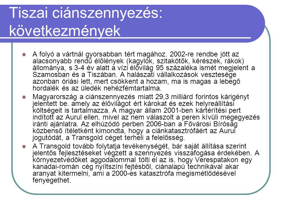 Tiszai ciánszennyezés: következmények