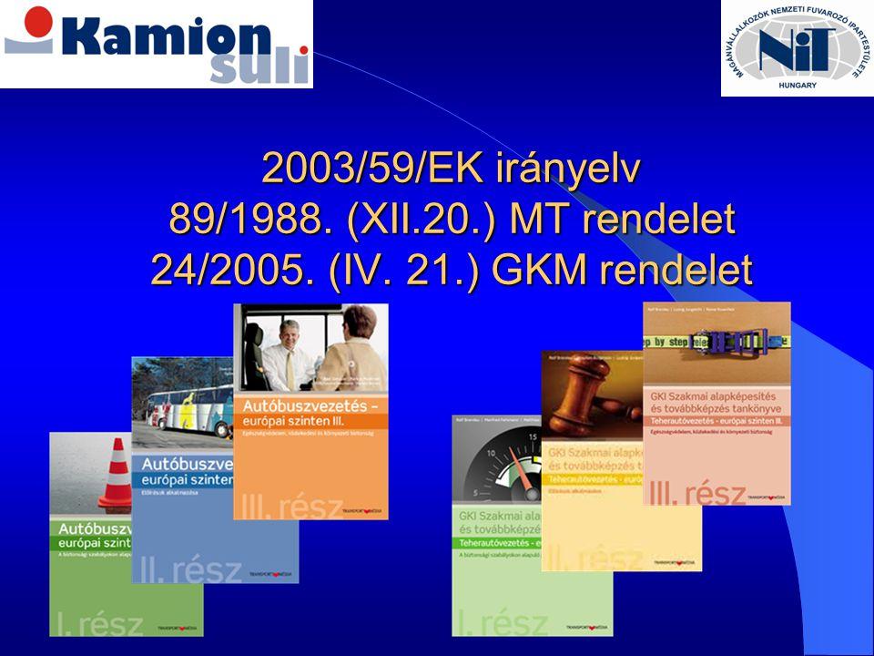 2003/59/EK irányelv 89/1988. (XII. 20. ) MT rendelet 24/2005. (IV. 21