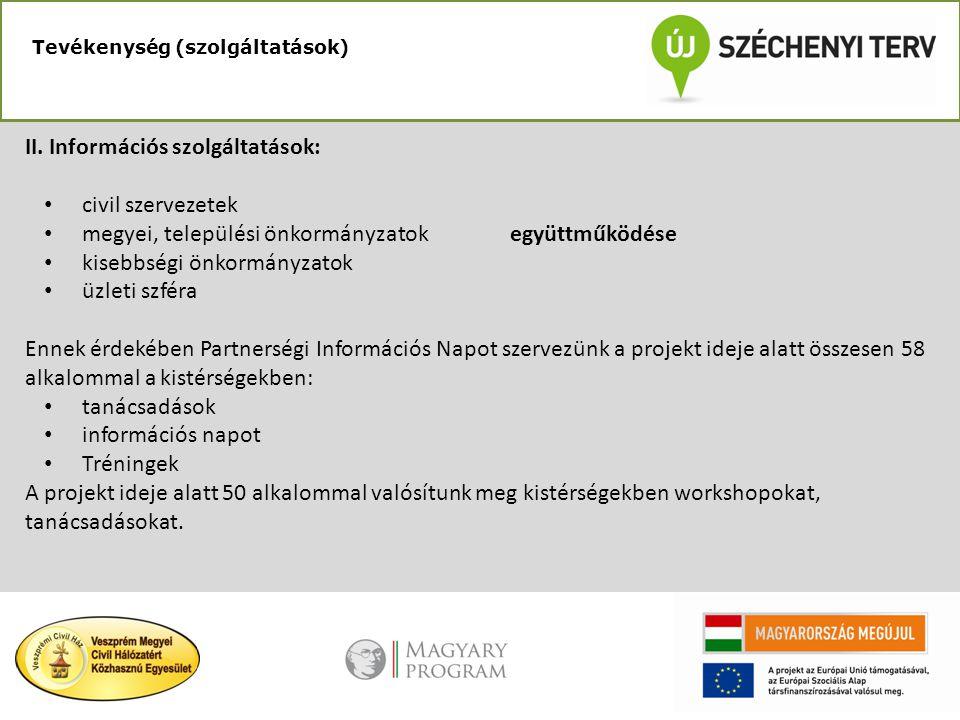 II. Információs szolgáltatások: civil szervezetek