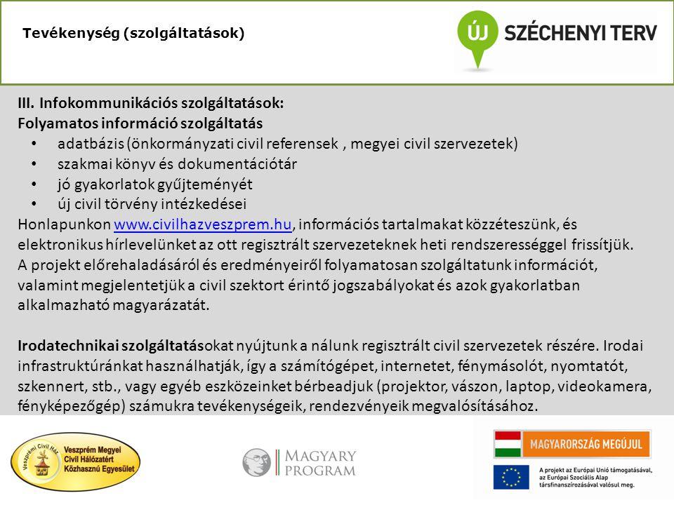 III. Infokommunikációs szolgáltatások: