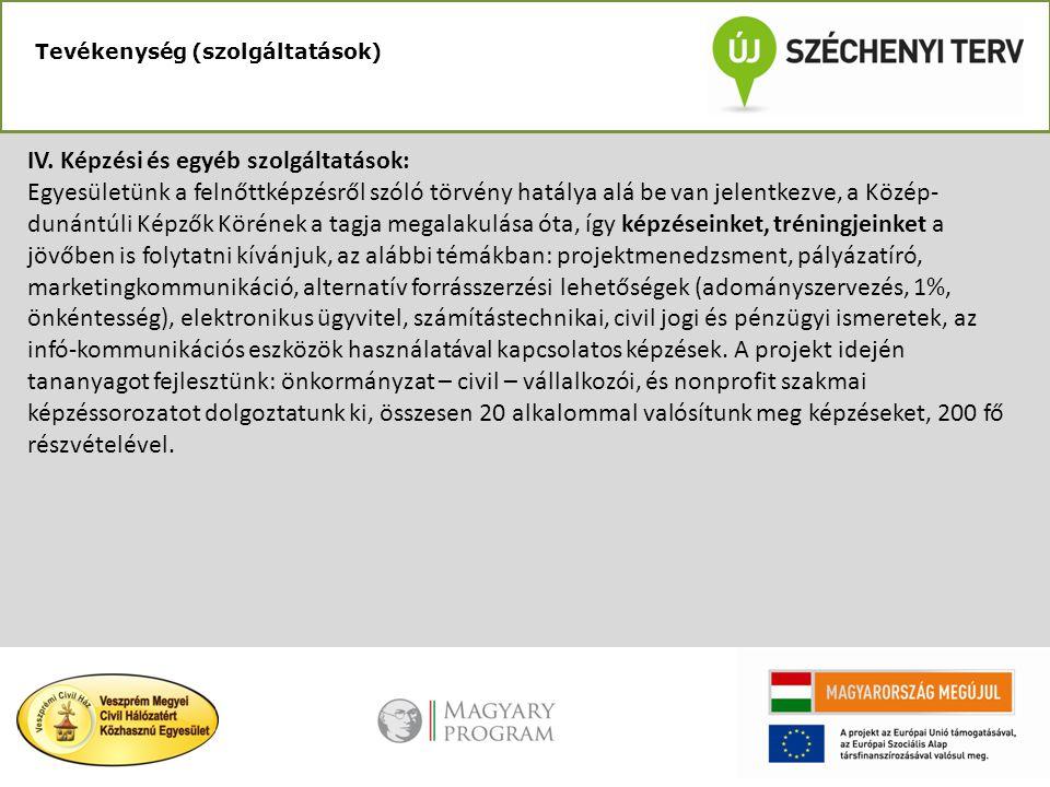 IV. Képzési és egyéb szolgáltatások: