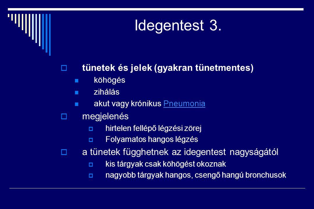 Idegentest 3. tünetek és jelek (gyakran tünetmentes) megjelenés