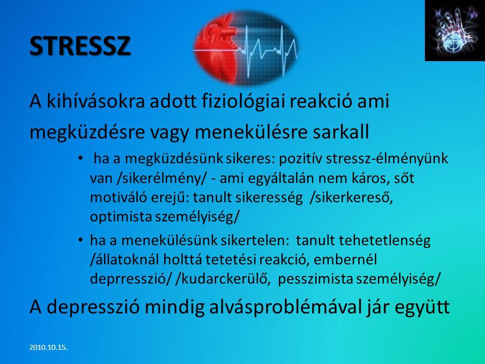 stressz A kihívásokra adott fiziológiai reakció ami