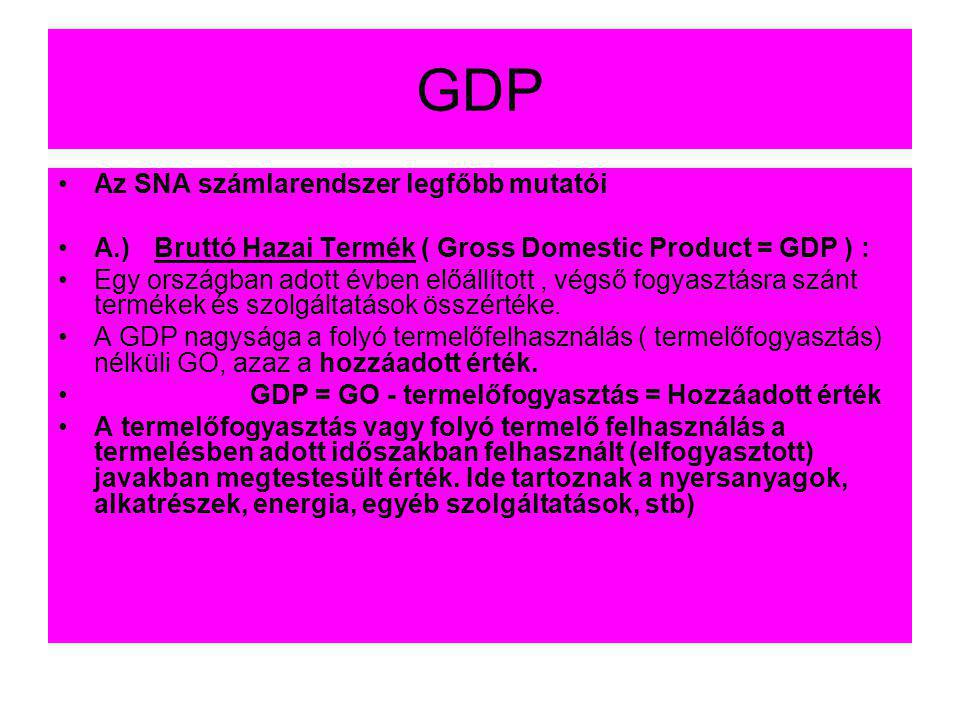 GDP Az SNA számlarendszer legfőbb mutatói