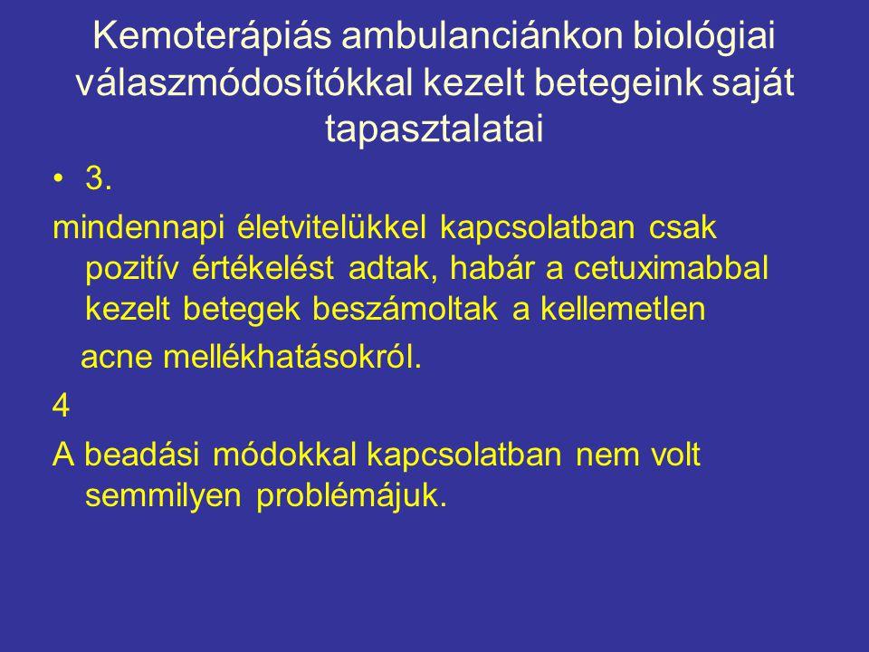 Kemoterápiás ambulanciánkon biológiai válaszmódosítókkal kezelt betegeink saját tapasztalatai