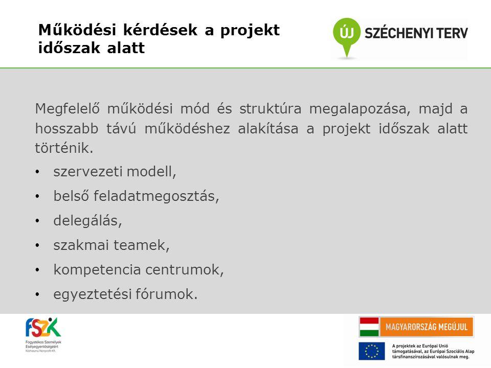 Működési kérdések a projekt időszak alatt